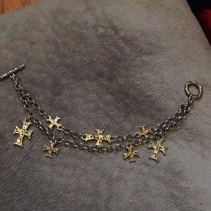 Double Chain Silver & Gold Bracelet